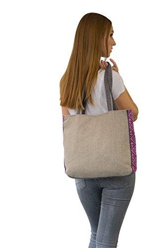 manbefair Fair Trade XL Shopper Schultertasche Felicitas Umhängetasche Hobo Bag Tasche 42x35 cm (BxH) Beige