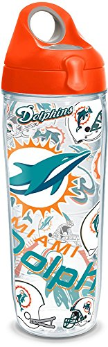 Tervis 1247947 NFL Miami Dolphins All Over Tumbler with Wrap and Orange Lid 24oz Water Bottle, Clear