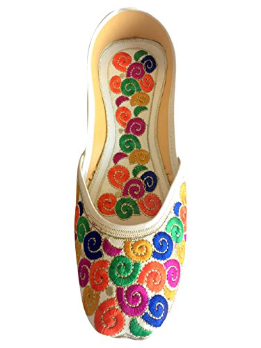 Step N Style Mujeres Leather Khussa Gladiador Flip Flop Jutti Zapatos Multicolor