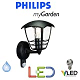 PHILIPS MASSIVE LIGHTING MY GARDEN CREEK LED 5.9 WATT BLACK WALL UP LANTERN LIGHT COMPLETE WITH PIR MOVEMENT SENSOR - INCLUDES LED LAMP - OUTSIDE SECURITY LIGHT - ENERGY SAVING - MODERN DESIGN - STS