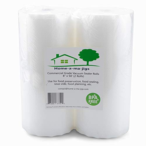 Food Sealer Vacuum Bag Rolls – Two 8″ x 50′ Rolls – Great for Food Preservation and Sous Vide!