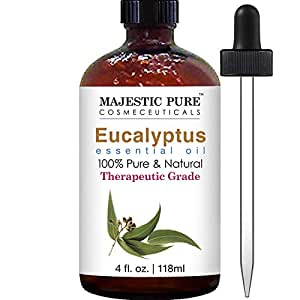 Majestic Pure Eucalyptus Essential Oil, Pure and Natural with Therapeutic Grade, Premium Quality Eucalyptus Oil, 4 Ounces