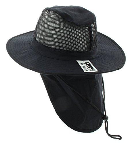 (Wide Brim Unisex Safari/Outback Summer Hat w/Neck Flap (Extra Large, Black))