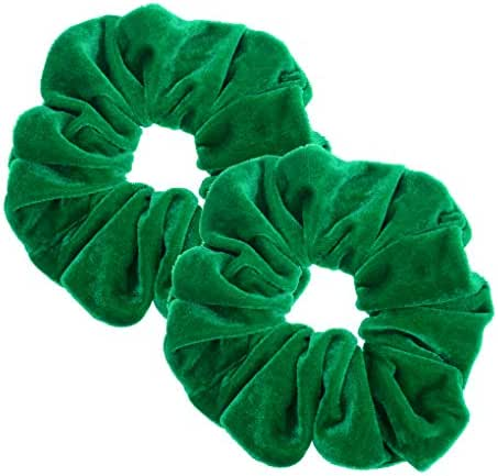 2 Pcs Green Color Large Velvet Scrunchies for Women Hair Ties