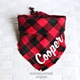 Black Red Buffalo Plaid Bandana - Tie on Classic Flannel Pet Bandana Scarf, Pet Fashion Scarf, Dog Bandana Scarf, Cat Bandana Scarf