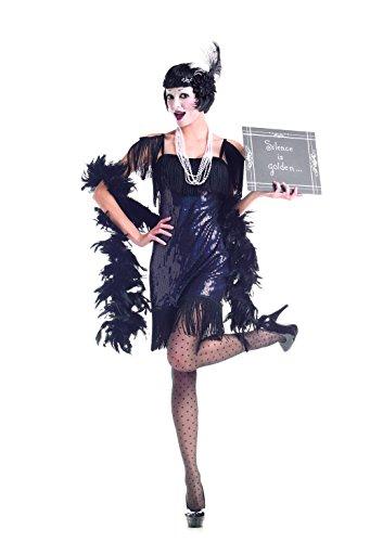 Party King Women's Silent Movie Flapper 5 Piece Costume Set, Black, Large -