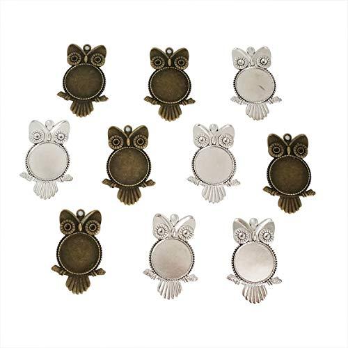 25mm 10 Set Round Retro Owl Glass Cameo Pendant Base - Owl Bezel Pendant Blank Trays Setting - DIY Cabochon Pendant Craft Kits for Jewelry Necklace Making Supply