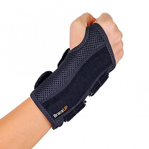 BraceUP Wrist Support Brace with Splints for Carpal Tunnel Arthritis - Right Wrist (S/M) - Rigid Splint