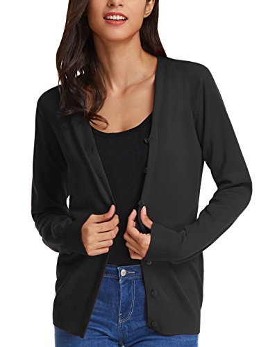 Womens Long Sleeve Soft Cardigan Natural Open Front Sweater (S,Black)