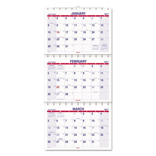 AT-A-GLANCE Wall Calendar 2017, Three-Month View, 12 x 27 Inches (PMLF11-28)
