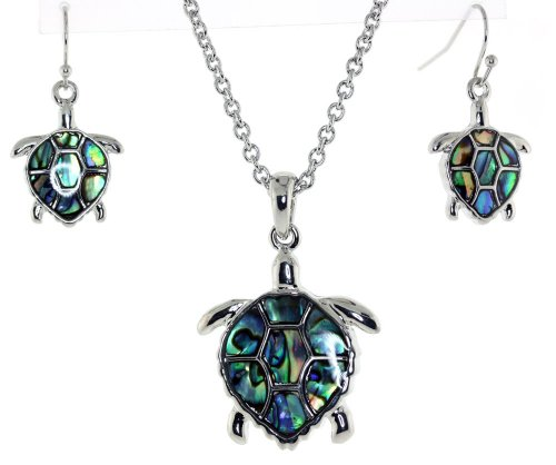 Abalone Turtle - Silver Tone Turtle with Abalone Sea Shell Pendent Necklace Earrings Set