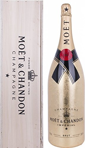 Moët & Chandon Brut Impérial Gold Leaf Bottle Jeroboam in Holzkiste (1 x 3 l)