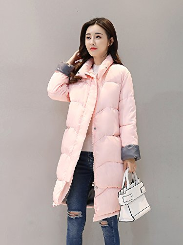 Donna Pink Maniche Misschicy Cappotto lunghe OwBHqt6