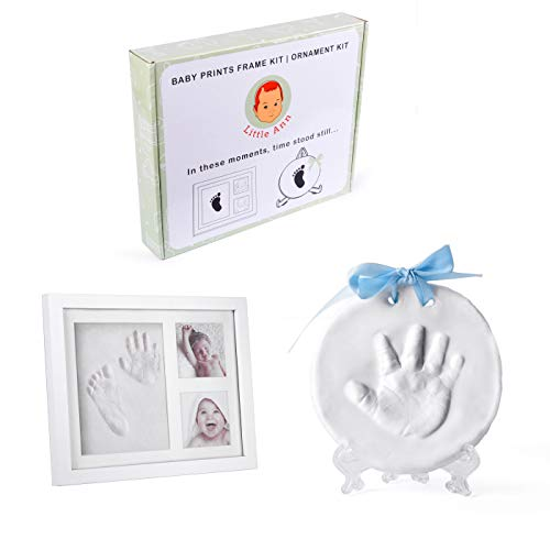 Little Ann Baby Handprint and Ornament Keepsake Kit 2in1 Package Bundle - DIY Photo Frame For Shower Registry Newborn Girls and Boys, Best Memorable FootPrint Clay For Nursery Personalized Decorations