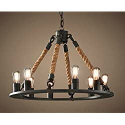 Perfectshow 8-Light Hemp Rope Round Chandelier Vintage Country Style Industrial Artistic Island Light Fixture