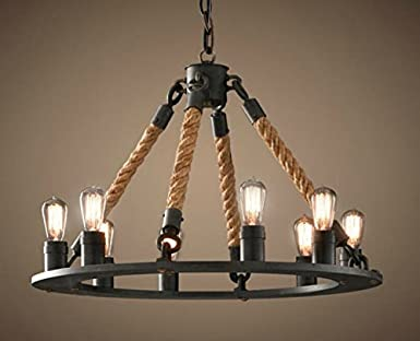 Perfectshow 8Light Hemp Rope Round Chandelier Vintage Country