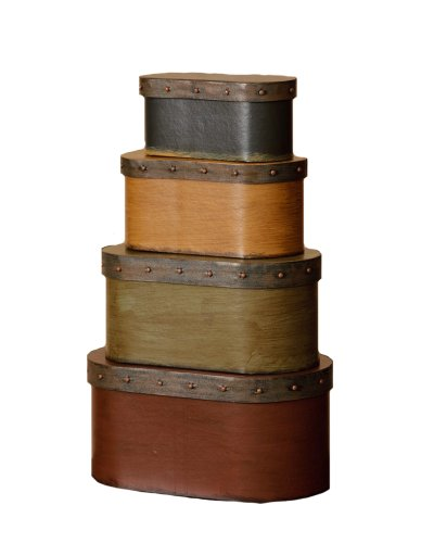 Stacking Boxes Decorative - Your Heart's Delight Decorative Band Nesting Boxes, 8-1/2 by 4 by 4-3/4-Inch, Set of 4