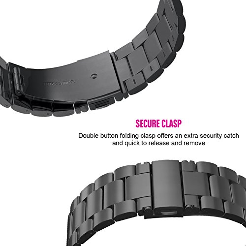 For Fitbit Blaze Accessory Bands Large,Oitom Frame Housing+Stainless steel Bracelet Replacement Strap Watch Band for Fitbit Blaze Smart Fitness Watch (Black Steel+Frame) by Oitom (Image #5)
