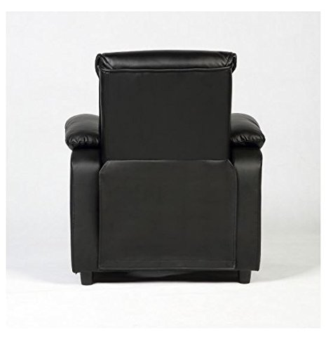 MD Group Kid Sofa Armrest Recliner Chair Black Soft Suede Cover Children Living Room Furniture