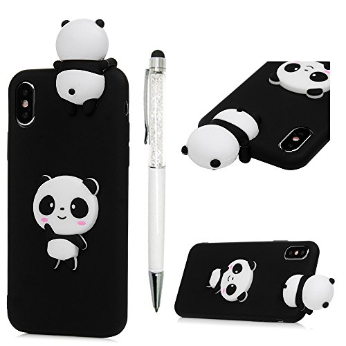 iPhone X Case, 3D Handmade Cute Cartoon Black Panda Jelly Soft TPU Silicone Rubber Slim Fit Shockproof Anti-Scratch Skin Protective Bumper Cover for iPhone X by YOKIRIN
