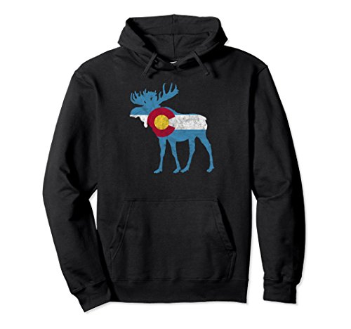 Unisex State Flag of Colorado - Vintage Bull Moose Design Hoodie Large Black
