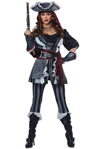 Captain Costume Women (California Costumes Women's Captain Blackheart Adult Woman Costume, Gray/Black, Extra)