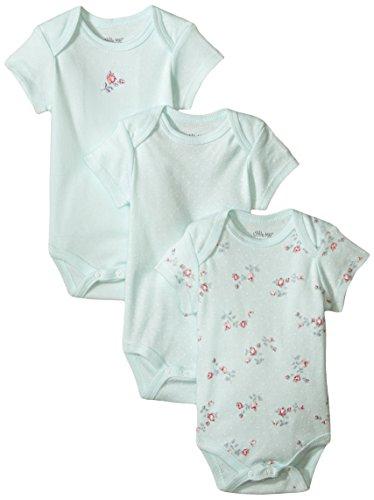 Little Me Baby-Girls Newborn Floral Spray 3 Pack Bodysuit, Mint Print, 6 Months