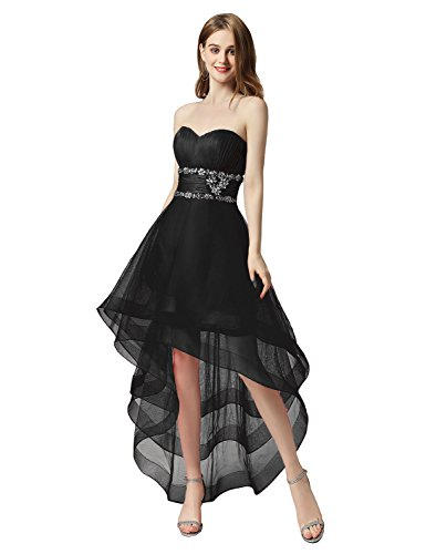 black Prom Women's Belle Bridesmaid Strapless Ball Chiffon High Gowns House Aj014 Dresses Low If7qxUw1f