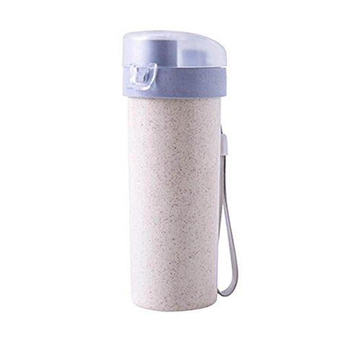 Eboxer Healthy Wheat Straw Portable Bottle, Cup for Camping and Hiking, Drink Bottle for Outdoor Sports and Travel, Drinking Water Bottle for Adults(Blue) -  Eboxerzbevw09isn-02