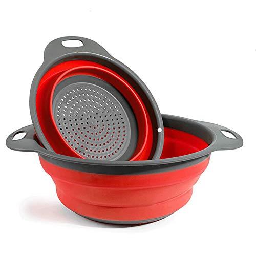 2 Stück Faltbare Abtropfsieb Silikon Faltbarer Nudelsieb Faltbar Silikon Filter Gemüse Frucht Korb Für Küchenzubehör Set