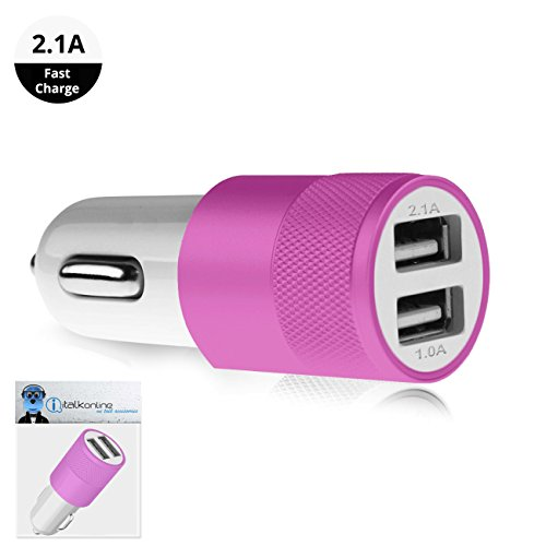 Pink Dual 2.1 / 1 Amp [ 3.1A ] Compact Fast Charge 2 x USB Ports Car Charger Adapter For Icemobile Twilight II