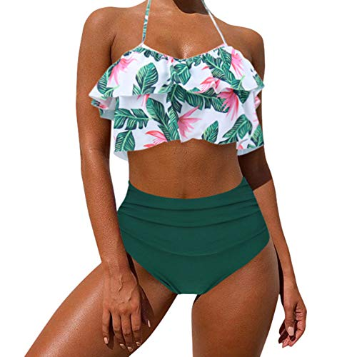 Floral Print Halter Tankini Top - MOOSLOVER Women's Cute Ruffle Bikini Top High Waisted Print Two Piece Swimsuit(XL,Green)