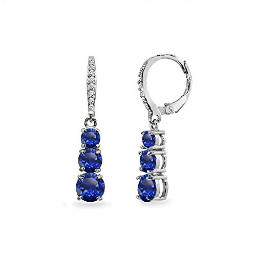 (Sterling Silver Created Blue Sapphire and Cubic Zirconia 3-Stone Journey Dangle Leverback Earrings for Women Teen)