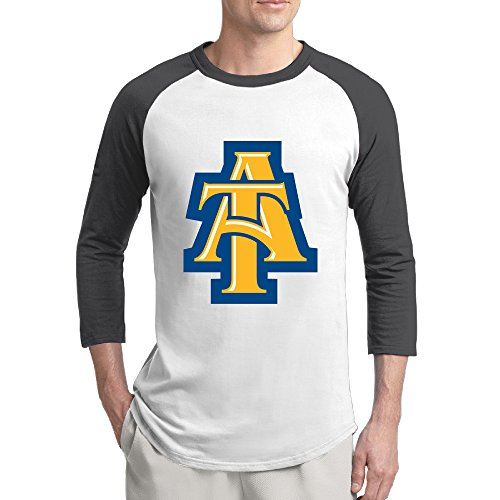 WG NC North Carolina A&T State University Aggies Fashion 3/4 Sleeve Shoulder Tee Black Men Undershirts Medium (Wentworth Merchandise compare prices)