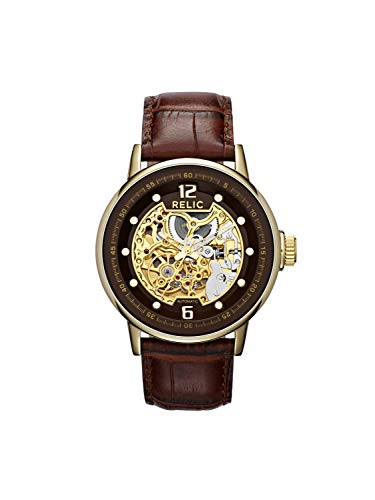 Relic by Fossil Men's Damon Automatic Stainless Steel and Leather Dress Watch, Color: Gold, Brown (Model: ZR77241) ()
