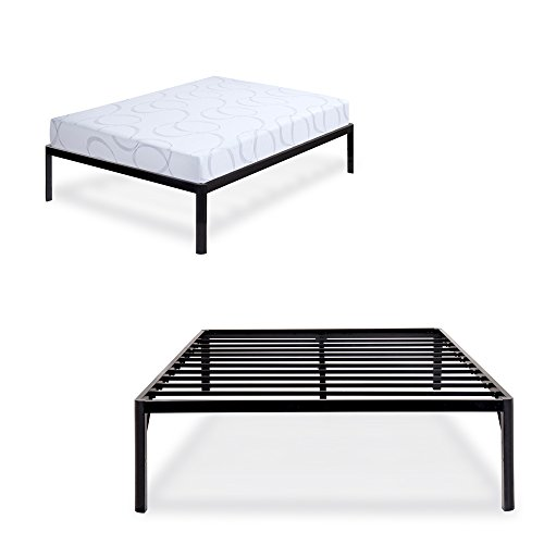 olee sleep 18inch tall round edge steel slat non slip support s 3500 high profile platform bed. Black Bedroom Furniture Sets. Home Design Ideas
