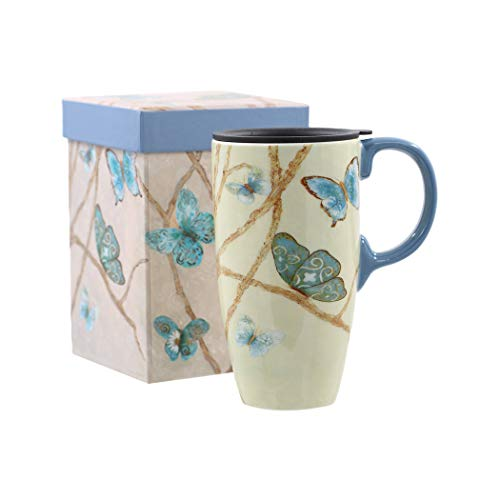 Topadorn Coffee Ceramic Mug Porcelain Latte Tea Cup With Lid in Gift Box 17oz, Blue Butterfly