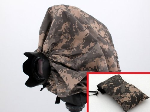 Digital Camouflage Camera Rain Cover + Storage Pouch for Cameras with Lens Combinations up to 13