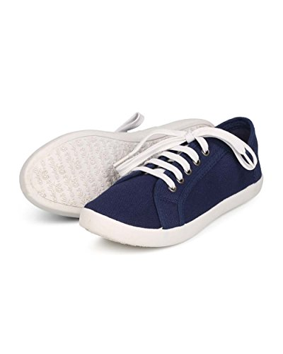 Breckelles ED99 Women Canvas Round Toe Classic Lace Up Fashion Sneaker - Navy Blue q7AjC