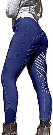 Ikevan Women Equestrian Breeches Tights, High Waist Pockets Sports Horse Riding Pants
