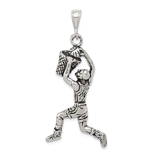 (Jewelry Pendants & Charms Themed Charms Sterling Silver Antiqued Basketball Player Charm)