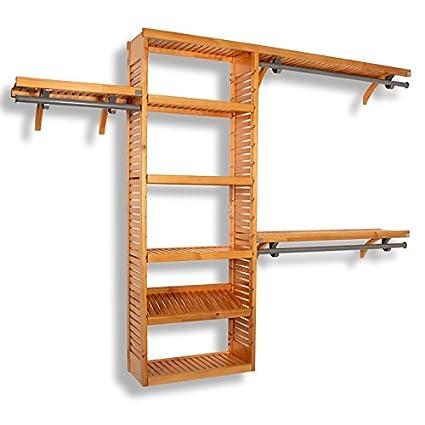 John Louis Home JLH 528 Premier 12 Inch Deep Closet Shelving System, Honey