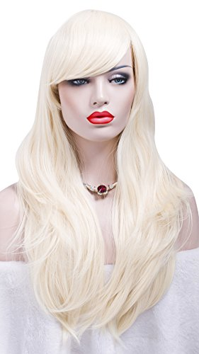 WELLKAGE 28 inches Long Big Wavy Cosplay Costume Womens Hair Wigs (light Blonde) (Light Blonde Wig)