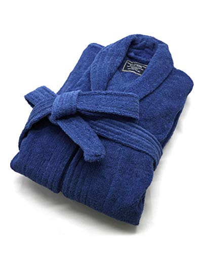 100% Cotton Terry Bath Robe,Men and Women, Soft & Warm Fleece Home Bathrobe, Sleepwear Loungewear Robe, One Size Fits All (Navy Blue) ()
