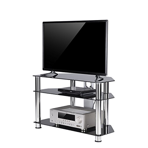 "TAVR Black Tempered Glass Corner TV Stand with Cable Management Suit for up to 40"" LCD LED, LED OLED TVs, Chrome Legs, TS2001 (32 Inch Black Glass)"