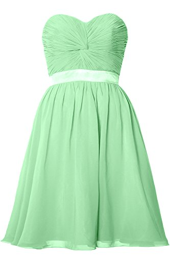 MACloth Women Strapless Lace-up Short Bridesmaid Dress Wedding Party Gown Menta
