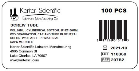 Karter Scientific 207B2 Screw Top, Plastic Test Tube, Round Bottom, 16 mm x 100 mm, Vol 10 mL (Pack of 100)