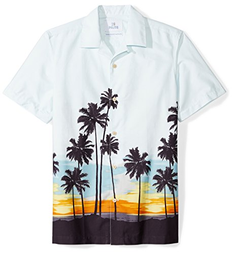 28 Palms Men's Standard-Fit 100% Cotton Tropical Hawaiian Shirt, Sunset Scenic Light Blue, Medium]()