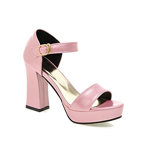 VogueZone009 Women's Solid PU High Heels Buckle Open Toe Heeled-Sandals Pink nwseo