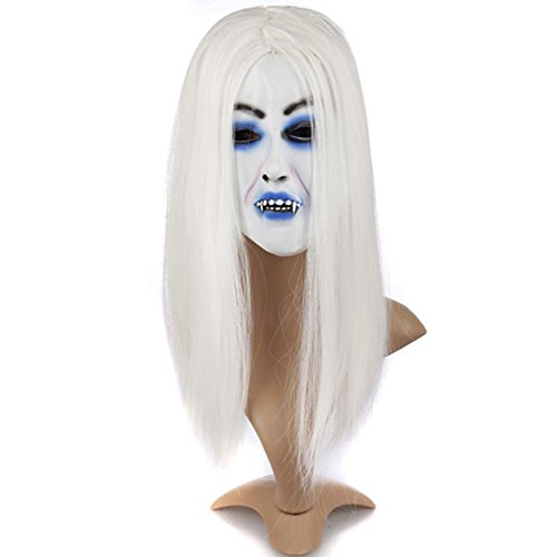 ARTSTORE Latex Horror Creepy White Hair Witch Mask,Scary Toothy Zombie Halloween Party -
